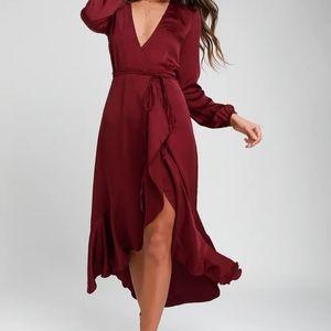 Lulus WAYF Philicia Burgundy Satin Wrap Dress 167